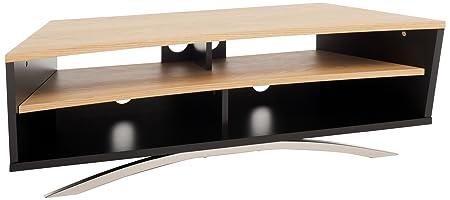 """TECHLINK PR130SBLO Prisma quercia con supporto e contemporaneo per TV fino a 65 """", colore: nero satinato"""