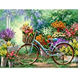 Moohue 14CT Counted Cross Stitch Kits Bicycle and Garden Cross Stitch Pattern DMC Cotton Thread NeedleCraft Kits (Bicycle and Garden) (Color: Bicycle and garden)