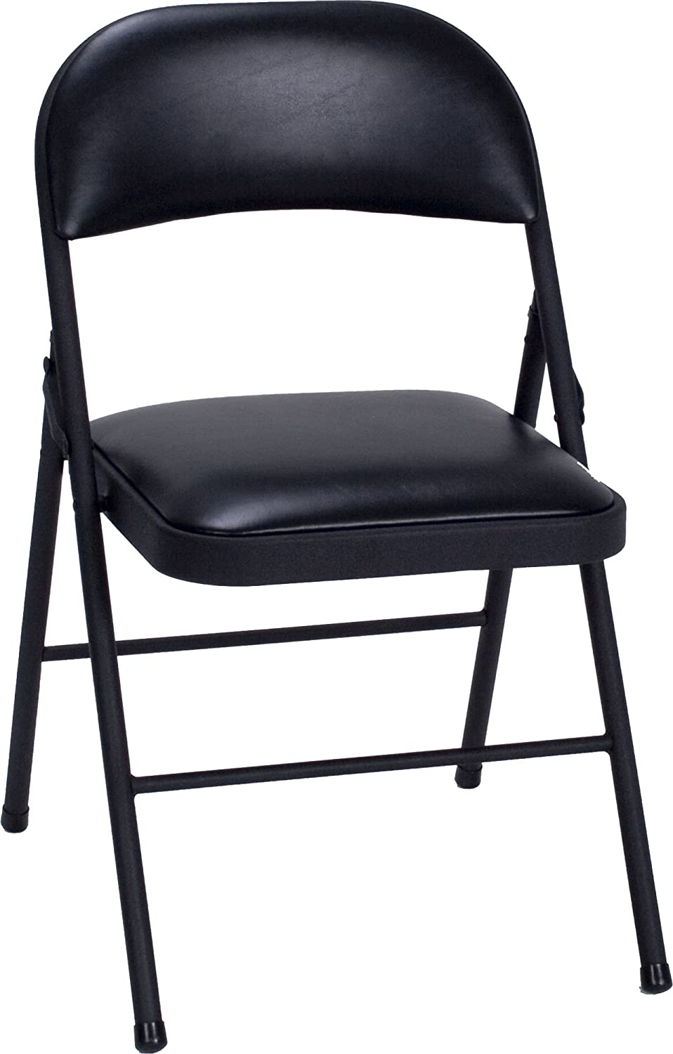 4 Pack Vinyl Folding Chair Set Black Cosco Fold Flat Steel