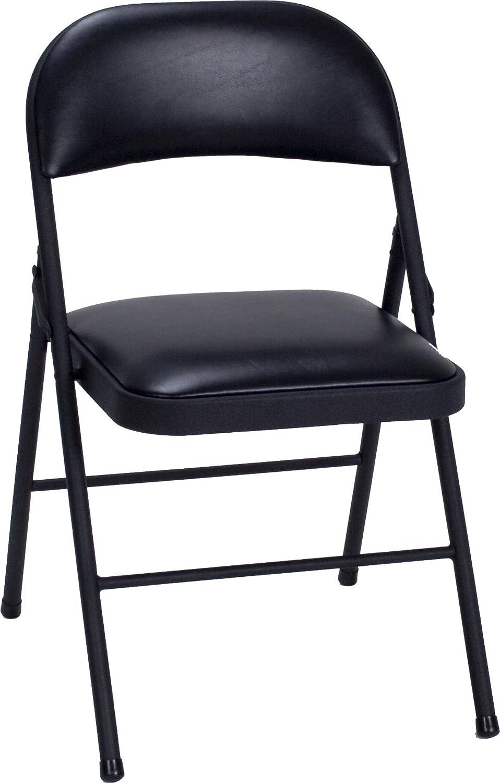 4 pack vinyl folding chair set black cosco fold flat steel