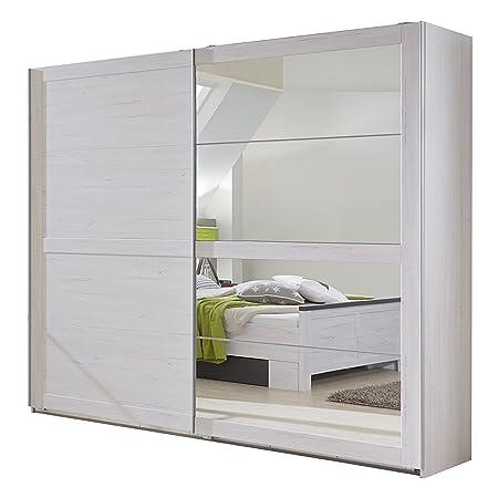 Wimex 980791 Schwebeturenschrank 225 x 210 x 65 cm, vier Spiegelfelder, Front und Korpus weißeiche Nachbildung