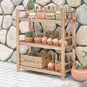 70 * 28 * 84 Cm, drei feste hölzerne Blumen-Feld-Fußboden-hölzerner Blumen-Regal-Balkon-Wohnzimmer-Innenraum