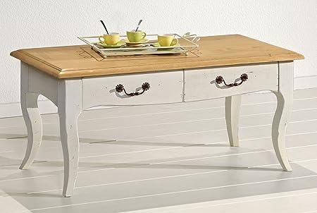 Macazba 7888 Table Basse avec 2 Tiroirs en Chêne Massif Ivoire/Chêne Blond 110 x 55 x 50 cm