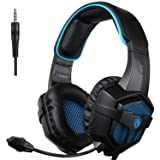 SADES SA-807 PlayStation 4 Pro Xbox One S Stereo Headset Over-Ear Gaming Headphones with Microphone for PC PS4 iPad Mobile Tablet Mac (Black & Blue) (Color: Black, Blue)