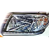 LED L.E.D Daylight Chrome Headlight Lower Eyebrows Eyelid Cover Trim For Toyota Hilux Vigo Champ 2012 2013 2014 (Color: Chrome)