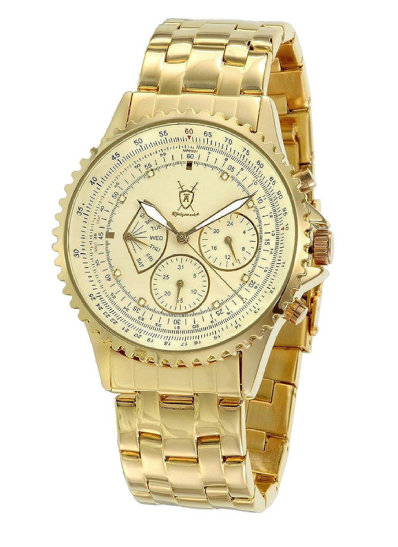 Konigswerk Mens Gold Plated Steel Bracelet Watch Multifunction Crystal Markers SQ201466G