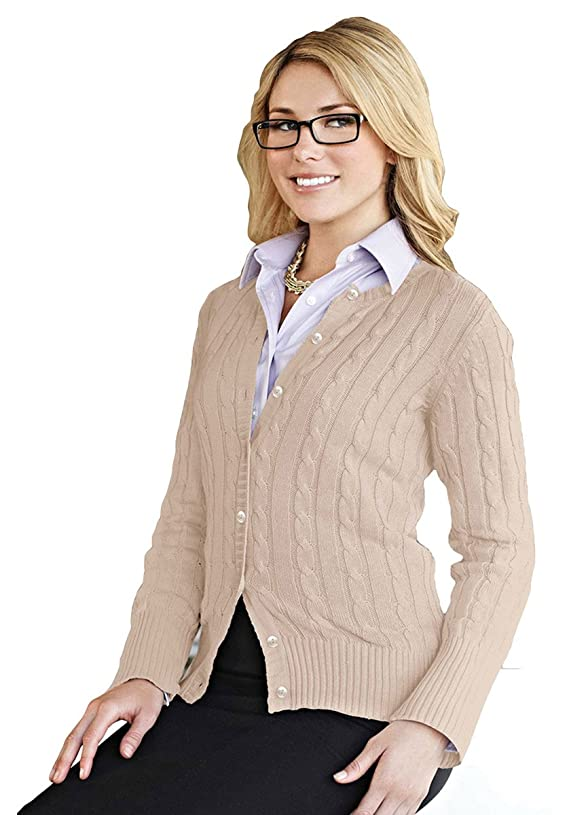 Tri-mountain Women 100% Cotton Long Sleeves Cable Sweater Cardigan LATTE