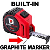 5M (Metric) QUICKDRAW PRO Self Marking Tape Measure - 1st Measuring Tape with a Built in Pencil - Contractor Grade Steel Tape - Power Locking Tape Ruler (Tamaño: 5M (Metric))