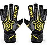 JYH Professional Adult & Youth Latex Soccer Goalkeeper Gloves,Strong Grip Finger Protection Football Goalie Goal keeper,With Finger Spines to Prevent Injuries (Color: Black/Yellow, Tamaño: 8)