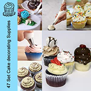 Kootek CD047 47-Piece Supplies White Sets Tips Silicone Pastry Bags, Couplers, Icing Smoother, Cake Paint Brushes, Decoration Pen Baking Tools, Kits for Cupcakes Cookies, Stainless Steel (Color: Stainless Steel, Tamaño: Kits for Cupcakes Cookies)