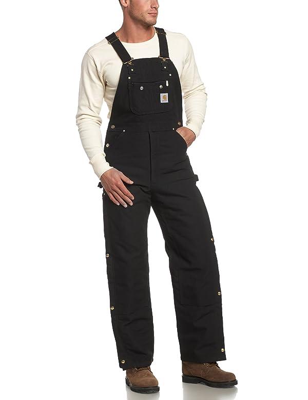 Carhartt Men's Quilt Lined Zip To Thigh Bib Overalls,Black,40 x 30 (Color: Black, Tamaño: 40W x 30L)