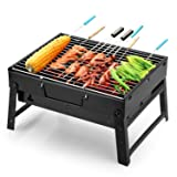 Uten Barbecue Grill Portable BBQ Charcoal Grill Smoker Grill for Outdoor Cooking Camping Hiking Picnics Backpacking (Color: black, Tamaño: Small)