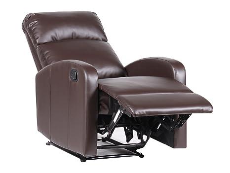 Manuell Synthetik Leder Relaxsessel mit klappbaren Fußteil