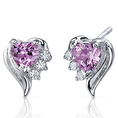 Peora Cupids Grace 1.50 Carats Pink Sapphire Heart Shape Cubic Zirconia Earrings in Sterling Silver Rhodium Finish