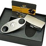 New COHIBA Matt Silver Metal Jet Flame Cigar Cigarette Lighter W/ 3 Punch Cutter Set (Color: Black, Tamaño: 25*30*85mm)