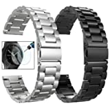 CAGOS Compatible Galaxy Watch (42mm)/Gear Sport Bands Sets, 2 Pack Solid Stainless Steel Metal Band Bracelet Strap Replacement for Galaxy Watch (42mm) SMR810/SMR815/Ticwatch E Smartwatch(Black+Silver) (Color: Metal Black+Metal Silver, Tamaño: Large(6.69