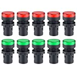 uxcell 10Pcs AC/DC 110V Indicator Lights, Red+Green LED, Flush Panel Mount 7/8