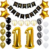Happy 11th Birthday Banner Balloons Set for 11 Years Old Birthday Party Decoration Supplies Gold Black (Color: 11th, Tamaño: 25)