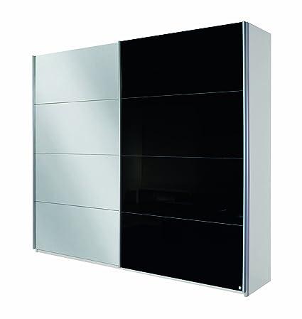 Rauch V9333.V965 Schwebeturenschrank Quadra / 2-turig / 1 Spiegelture / B 181 H 210 T 62 cm / Korpus: alpinweiß/Front: Glas schwarz / spiegel