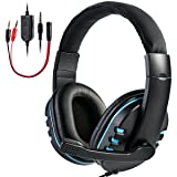SOONHUA Gaming Headset with microphone for Xbox One,PS4, PC,Over-ear Noise Isolation Bass Gaming Headphones with Mic, Surround Sound,Volume Control, Soft Memory Earmuffs for Computers/Laptops/Phones