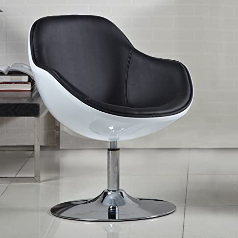 Turbo Sci-Fi Inspired Scoop Armchair, Black and White
