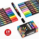 ZEYAR Acrylic Paint Pens for Rock Painting, Water based, 18 colors, Medium Point, Odorless, Opaque ink, Paint Markers for Glass, Rock, Paper, Ceramic, Plastic and Non porous surfaces (Color: black, white, gold, silver, red, yellow, green, blue, pink, violet, orange, brown, zesty lemon,ligh, Tamaño: Medium point)