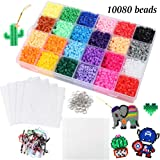 Fuse Beads Kit 10080pcs 5mm Beads, 24 Pre-Sorted Colors, 4 Big Square Clear Pegboards, 2 Tweezers and Ironing Paper, 100 Jump Rings, 30 Straps (Color: Multicolor)