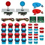 Gamelec 2-Player Arcade Game Buttons and Joysctick Kit with 5 Modes Buttons Lighting for Windows System, Raspberry Pi,Mame,Jamma,PS3,MAC,Linux and Android Video Games (Red&Blue)
