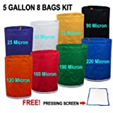 E-ONSale Herbal Ice Bubble Hash Bag Essense Extractor Kit, 5-Gallon, 8 Bag