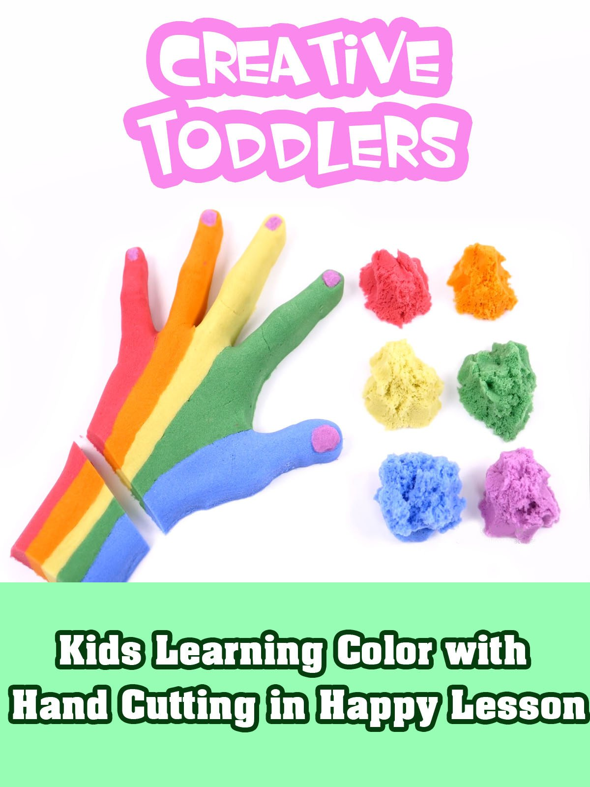 Kids Learning Color with Hand Cutting in Happy Lesson
