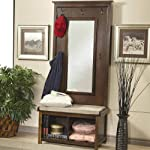 1PerfectChoice Hallway Entryway Hall Tree Bench Coat Rack Storage Shoe Shelf Mirror Dark Walnut