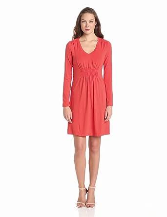 Mod-O-Doc Women's Long Sleeve Smock Dress, Persimmon, Large