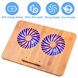 Laptop Cooling Pad - Best Bamboo Wood Laptop Cooler for 12-17 inch Laptop, with 2 Powerful Fans, Adjustable Mount Stand (Color: Bamboo)