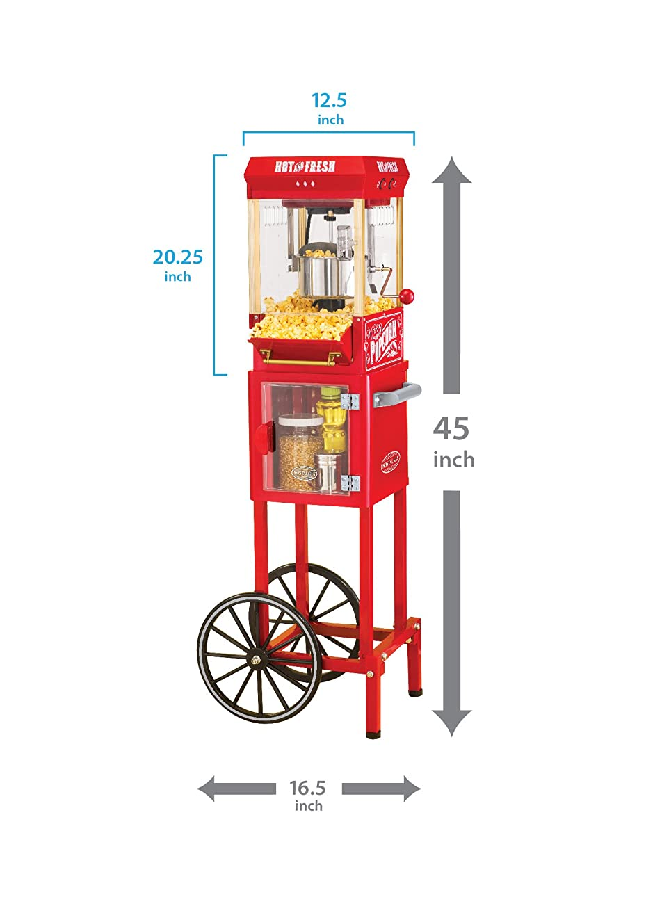 Nostalgia KPM200CART 45-Inch Tall Vintage Collection 2.5-Ounce 10-Cup Kettle Popcorn Cart 3