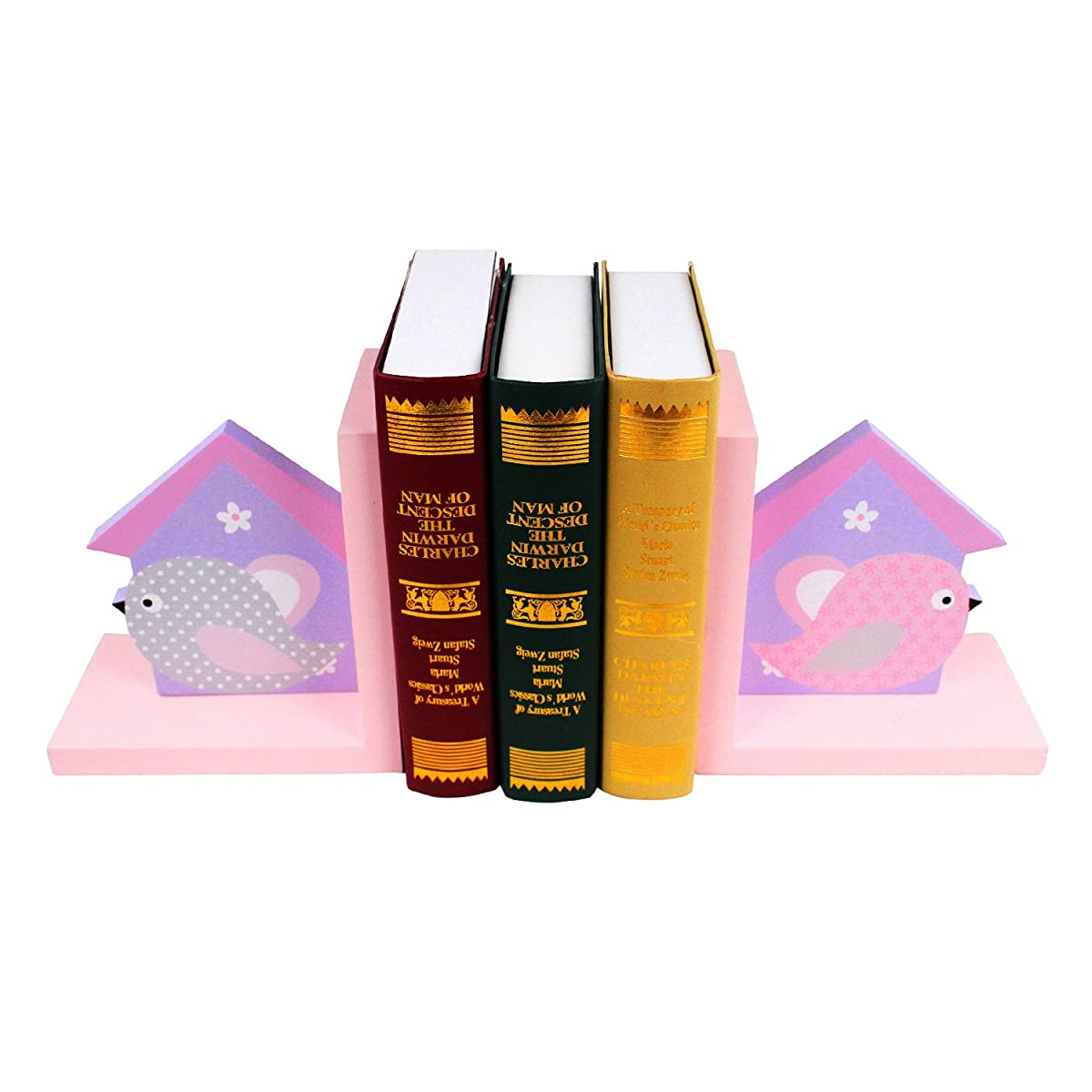 Hoddmimis Set of 2 Wooden Animal Themed Nonskid Bookends for Kids Home Decaration BBE04