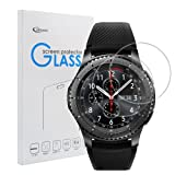 Samsung Gear S3 Classic / Frontier Screen Protector [2 PACK], Qoosea Ultra-thin 2.5D 9H Hardness Crystal Clear Scratch Resistant Tempered Glass Screen Protector for Samsung Galaxy Gear S3 Smart Watch (Color: Tempered Glass-Samsung Gear S3 Smart Watch)