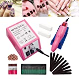 Electric Nail Drill Machine Grinder Polisher Kit Nail File for Acrylics Nails Clippers Manicure Pedicure Professional Set for Glazing Gel Nail, Nail Salon with Sanding Bands by MPNETDEAL (Pink) (Color: Pink, Tamaño: 20K RPM)