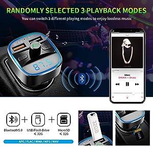 ZEXMTE Bluetooth FM Transmitter for Car QC 3.0 Wireless Bluetooth FM Audio Transmitter Adapter with Hands-Free Calling,Support USB Disk, Universal Blu
