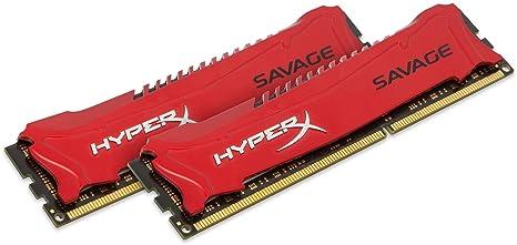 HyperX Savage Mémoire RAM 8 Go 1866 MHZ DDR3 Non-ECC Cl9 DIMM Kit (2X4Go) XMP, Rouge HX318C9SRK2/8X