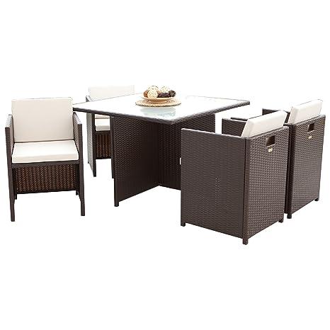 Lounge Garnitur VERONA 13-teilig, Metall + Polyrattan dunkelbraun, Polster creme