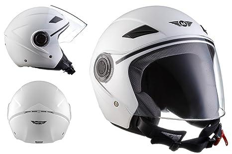 MOTO U52 - matt white - blanc Jet moto casque Vespa pilot scooter mofa moto-casque ECE certified - XS S M L XL
