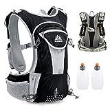 TRIWONDER Hydration Pack Backpack 12L Professional Outdoors Mochilas Trail Marathoner Running Race Hydration Vest (Black- with 2 Water Bottles) (Color: Black- with 2 Water Bottles, Tamaño: Large)