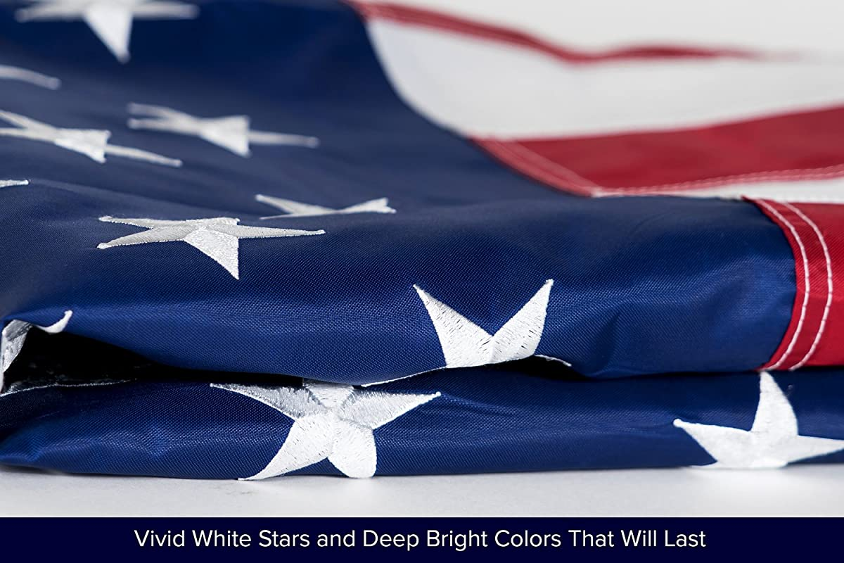 American Flag 3x5' | 100% Guarantee | Heavy Duty | Embroidered Stars | Sewn Stripes | 210D Oxford Nylon | Quadruple Stitched Fly End | Brass Grommets for Easy Display | U.S. Flag