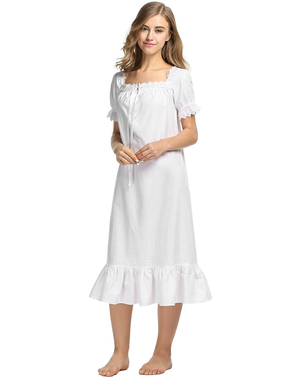 Avidlove Womens Cotton Victorian Vintage Short Sleeve Nightgown Sleepwear 3