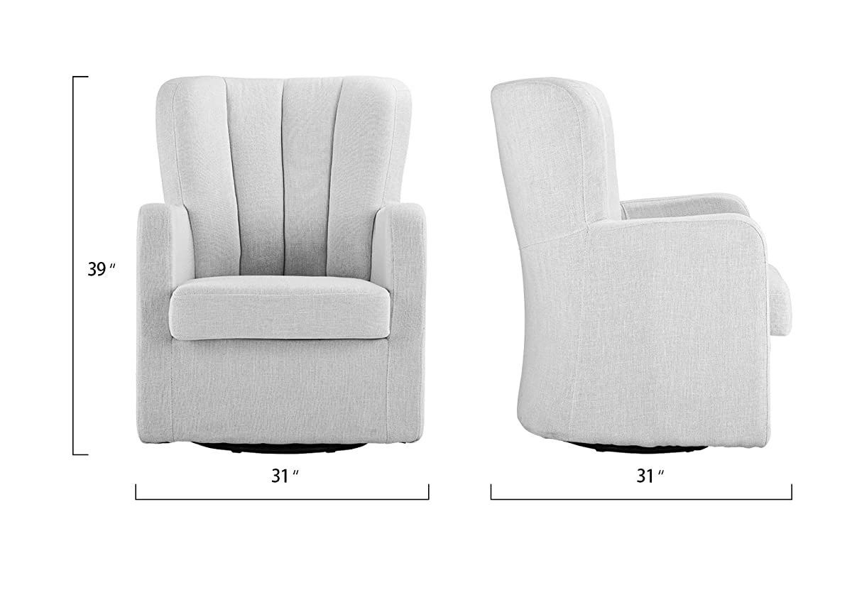 Modern Swivel Armchair, Rotating Accent Chair for Living Room with Pleated Back (White)