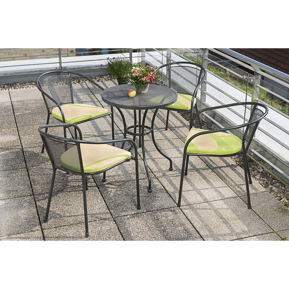 MERXX Gartenmöbel-Set Prato 9-tlg. Stapelsessel mit Sitzkissen, Tisch Ø 60 cm