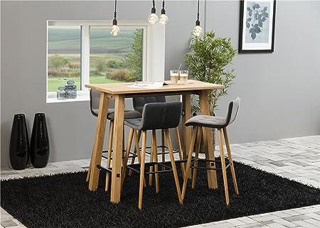 Essgruppe mit 4 Stuhlen Massiv Barstuhl mit Lehne Stoff Bartisch Massivholz Furnier 120 x 60 x H:105 Barhocker Grau mit Gestell aus Eiche im Vintage Stil Esszimmergruppe Tischset Modern