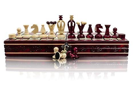 RED UNI 35cm / 14po Game Coloré en bois d'échecs et Dames / Dames, Jeu Classique