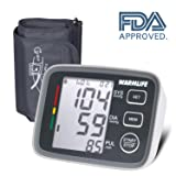 WARMLIFE Accurate Automatic Upper Arm Blood Pressure Monitor Digital BP Machine Pulse Rate Monitoring Meter with 8.8-14.1in Cuff Kit,180 Records Two Users,Display&Talking Wire/Wireless– FDA Approved (Color: Classical Black)