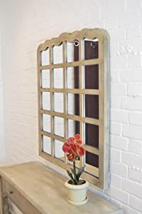 Large Cream Shabby Chic Multi Panelled Overmantle Mirror 3ft3 x 3ft 99cm x 91cm       Customer reviews and more information